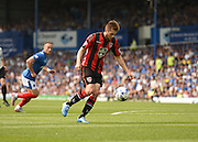 Tom Barkhuizen scores the opening goal during the Sky Bet League 2 match between Portsmouth and Morecambe at Fratton Park, Portsmouth, England on 22 August 2015. Photo by David Charbit.