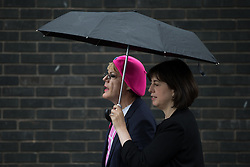 © Licensed to London News Pictures . 10/06/2016 . Manchester , UK . Comedian EDDIE IZZARD and Manchester Central MP LUCY POWELL door knocking in Hulme , Manchester , in support of the Remain campaign , ahead of the UK's EU Referendum . Photo credit : Joel Goodman/LNP