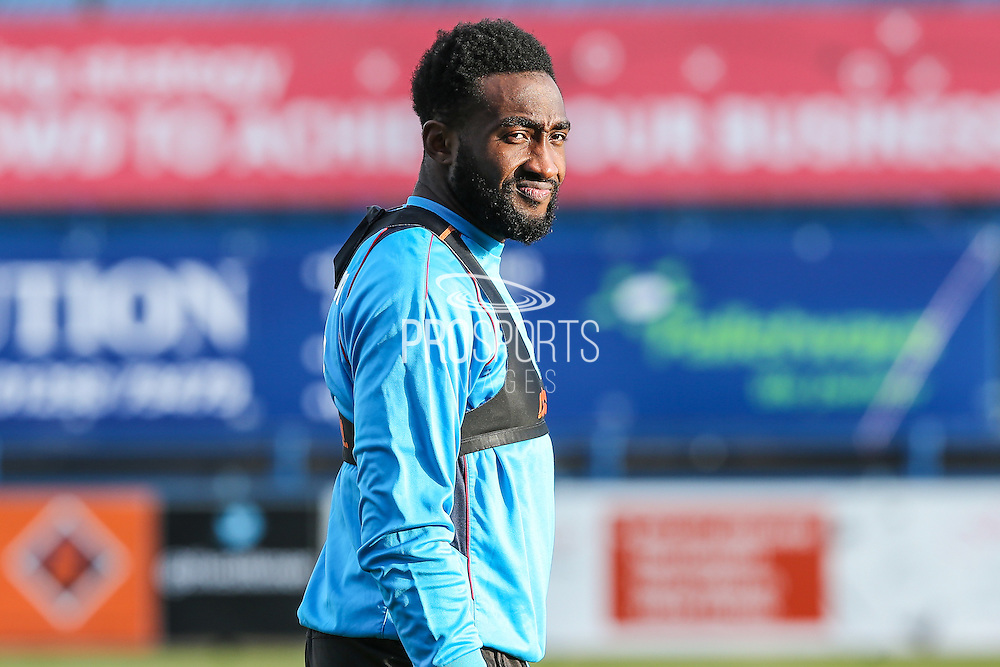 Forest Green Rovers Manny Monthe(3) warming up during the FA Trophy match between Macclesfield Town and Forest Green Rovers at Moss Rose, Macclesfield, United Kingdom on 4 February 2017. Photo by Shane Healey.