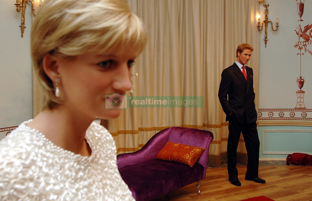 Prince William is positioned alongside his mother, Princess Diana.