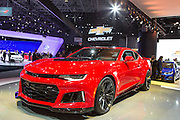 New York, NY, USA-23 March 2016. Chevrolet showed off it's 2017 Camarro ZL1, a muscle car with 580hp, and capable of going from 0 to 60 in 3.9 seconds.