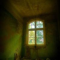 Light shining through window in old hospital