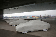 "Linz, Cultural Capital of Europe 2009. Lentos Kunstmuseum. Exhibition ""Best of Austria"". ""Elf/Elf? by Gottfried Bechtold (eleven concrete Porsches), loan from the collection of Kunsthaus Bregenz."