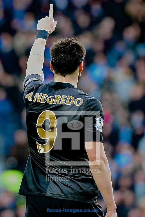 Picture by Ian Wadkins/Focus Images Ltd +44 7877 568959<br /> 04/01/2014<br /> &Aacute;lvaro Negredo of Manchester City celebrates after scoring to make it 1-0 during the The FA Cup match at Ewood Park, Blackburn.