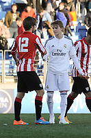 Real Madrid Castilla´s Martin Odegaard and Athletic Club B's Juriasti during 2014-15 Spanish Second Division match between Real Madrid Castilla and Athletic Club B at Alfredo Di Stefano stadium in Madrid, Spain. February 08, 2015. (ALTERPHOTOS/Luis Fernandez)
