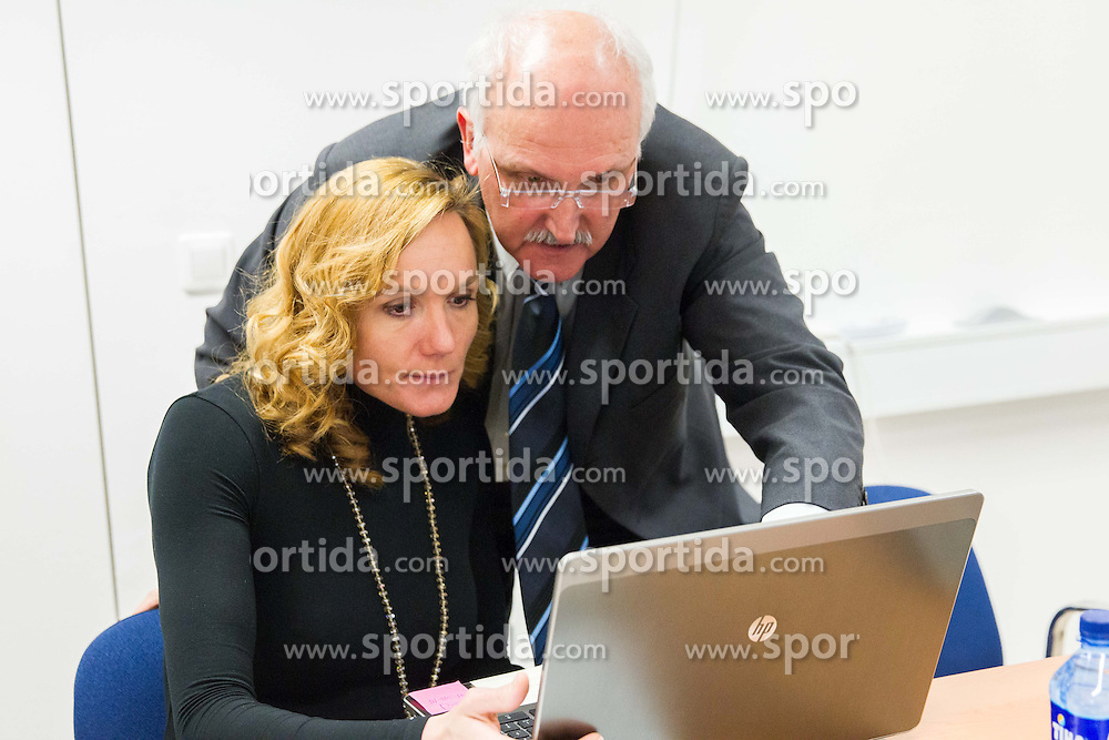 Petra Majdic and Janez Vodicar during meeting of Executive Committee of Ski Association of Slovenia (SZS) on March 10, 2014 in SZS, Ljubljana, Slovenia. Photo by Vid Ponikvar / Sportida