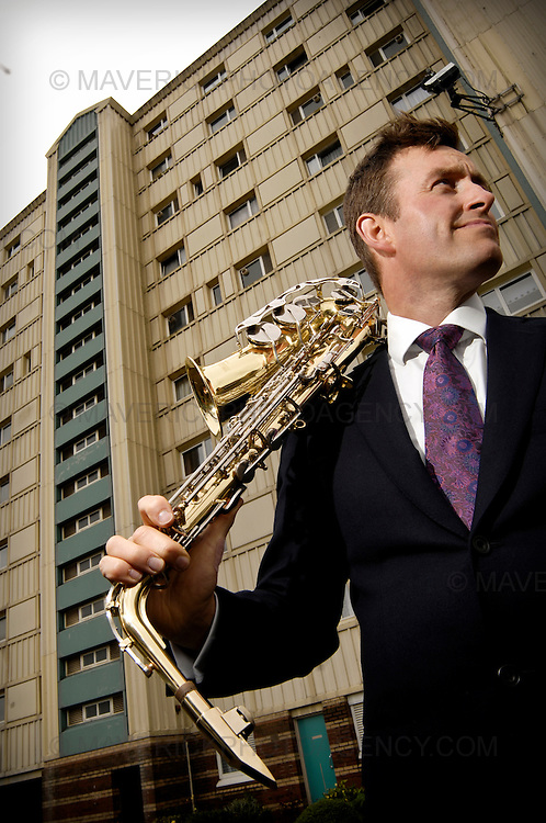 Tommy Smith, one of the UK's leading contemporary jazz saxophonists, returns to his Edinburgh roots to front a £150,000 trust fund set up to help young people in Edinburgh's Wester Hales area pursue education after leaving school.  Tommy was born and brought up in Wester Hales before moving to America at age 15.  Pictured in front of the block of flats where his father died.