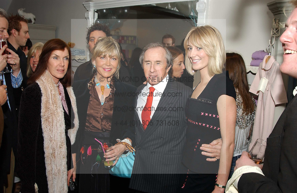 Left to right, LADY STEWART, ROSIE, MARCHIONESS OF NORTHAMPTON, SIR JACKIE STEWART and LADY EMILY COMPTON at a party to celebrate the opening of children's store Chippi Hacki at 8 Motcomb Street, London, SW1 on 24th November 2004.<br />
