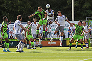 Forest Green Rovers Liam Kitching(20) jumps to head the ball during the EFL Sky Bet League 2 match between Forest Green Rovers and Colchester United at the New Lawn, Forest Green, United Kingdom on 14 September 2019.