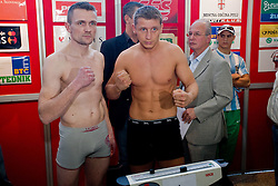 Mark Angermann of Germany and Denis Simcic of Slovenia  at official weighing before box fighting, on April 8, 2010, in Avto Delta, Ljubljana, Slovenia.  (Photo by Vid Ponikvar / Sportida)