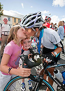 Megan and Benn Wardell with a kiss for their mother Katie after she finnished  the Etap Hibernia Sky Ride in Ennis on Sunday. Photograph by Eamon Ward