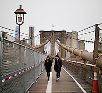 NEW YORK, 20160117: Bilder fra New York City. Brooklyn bridge med utsikt mot Brooklyn. FOTO: TOM HANSEN