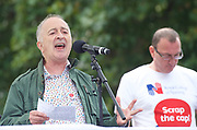 Royal College of Nursing union stages protest<br /> in Parliament Square, London, Great Britain <br /> 6th September 2017 <br /> <br /> <br /> <br /> Royal College of Nursing's campaign for the Government to scrap the 1 per cent cap on public sector pay.<br /> <br /> <br /> The rally&nbsp;was addressed by actor Sir Tony Robinson <br /> <br /> <br /> <br /> <br /> Photograph by Elliott Franks <br /> Image licensed to Elliott Franks Photography Services