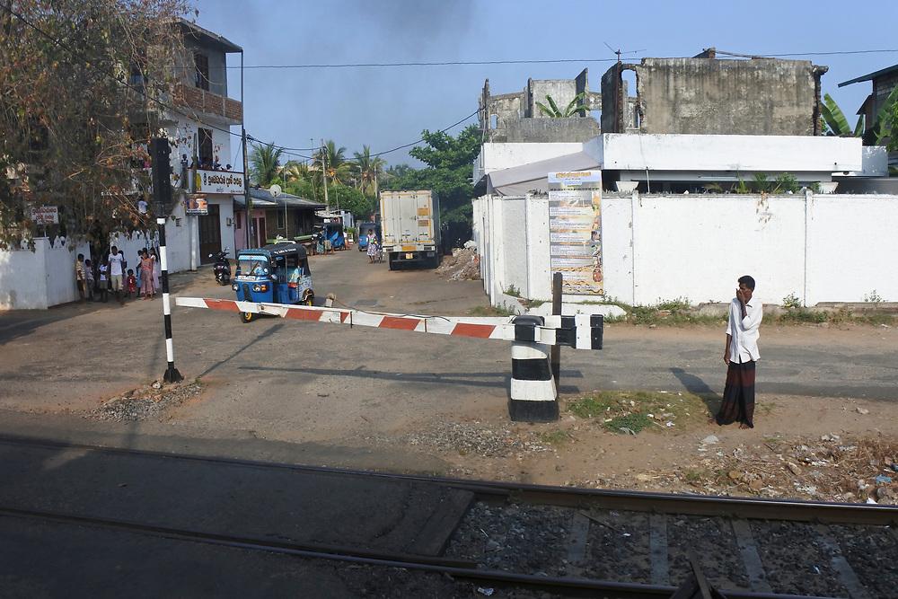 Typical rail crossing in Sri Lanka