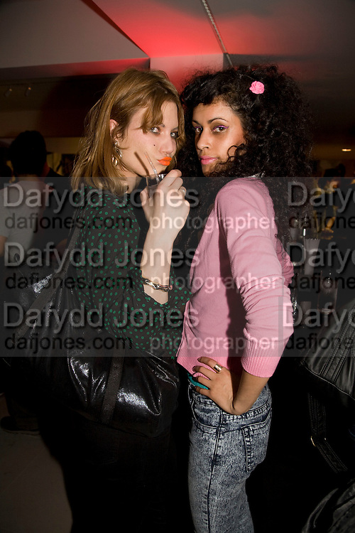 TONJE JAKOBSEN AND ALIYAH NAROTH, A very Private Affair, Agent Provocateur in association with arena magazine. Spring/Summer collection party. Louise T. Blouin Foundation. 3 Olaf St. London. 1 April 2008. *** Local Caption *** -DO NOT ARCHIVE-© Copyright Photograph by Dafydd Jones. 248 Clapham Rd. London SW9 0PZ. Tel 0207 820 0771. www.dafjones.com.