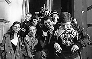 A group of kids, Ska, 2 Tone fans, gesturing, Coventry, UK 1980