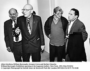 Allen Ginsberg, William Burroughs, Gregory Corso and Herbert Huncke. William Burroughs Exhibition opening at the Gagosian Gallery. New York. 1993. Film 9352f32<br />