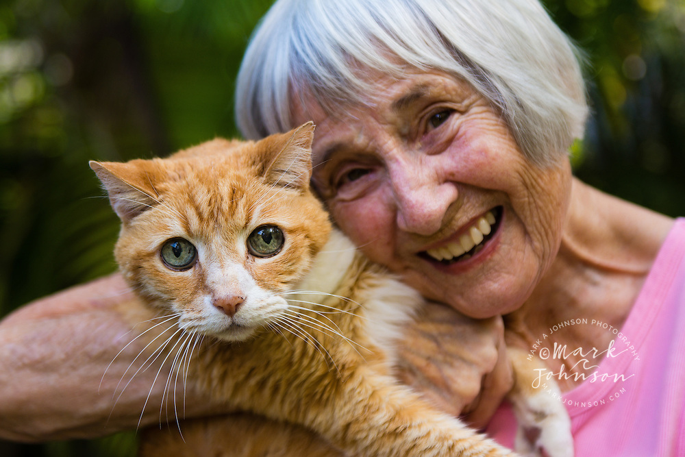 Happy woman and her cat