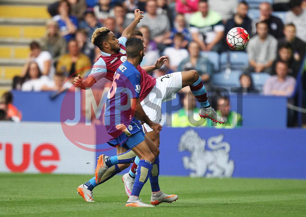 Jordan Amavi of Aston Villa (L) in action against Leicester City  - Mandatory byline: Jack Phillips/JMP - 07966386802 - 13/09/2015 - SPORT - FOOTBALL - Leicester - King Power Stadium - Leicester City v Aston Villa - Barclays Premier League