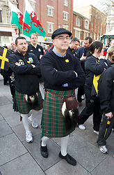 CARDIFF, WALES - Thursday, March 1, 2012: Members of the Football Association of Wales take part in the 10th St. David's Day Parade through the streets of Cardiff. Media Officer Ceri Stennett. (Pic by David Rawcliffe/Propaganda)