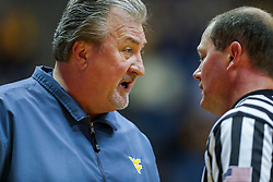 Nov 24, 2018; Morgantown, WV, USA; West Virginia Mountaineers head coach Bob Huggins argues a call during the first half against the Valparaiso Crusaders at WVU Coliseum. Mandatory Credit: Ben Queen-USA TODAY Sports