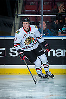 KELOWNA, CANADA - OCTOBER 20: Brendan De Jong #21 of the Portland Winterhawks warms up against the Kelowna Rockets on October 20, 2017 at Prospera Place in Kelowna, British Columbia, Canada.  (Photo by Marissa Baecker/Shoot the Breeze)  *** Local Caption ***