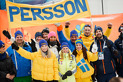March 16, 2019 - –Stersund, Sweden - 190316 Fans of Linn Persson celebrate after  the Women's 4x6 km Relay during the IBU World Championships Biathlon on March 16, 2019 in Östersund..Photo: Johan Axelsson / BILDBYRÃ…N / Cop 245 (Credit Image: © Johan Axelsson/Bildbyran via ZUMA Press)