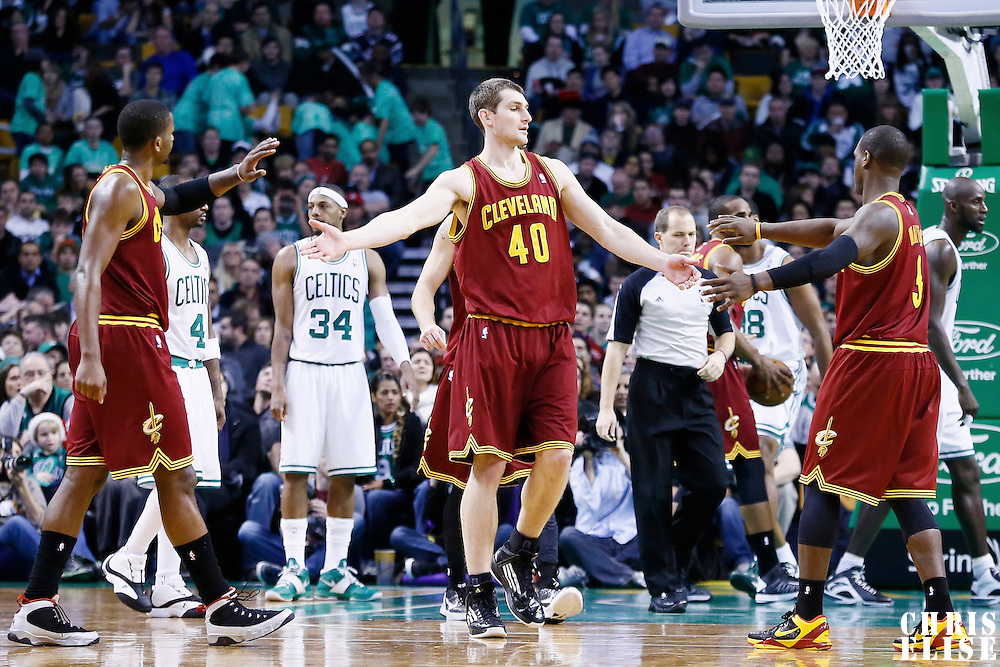 19 December 2012: Cleveland Cavaliers center Tyler Zeller (40) is congratulated by his teammates during the Boston Celtics 103-91 victory over the Cleveland Cavaliers at the TD Garden, Boston, Massachusetts, USA.