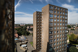 © Licensed to London News Pictures. 11/08/2017. London, UK. A tower block on the Ledbury Estate. Residents on the Ledbury Estate in south London have been told they will have to leave their properties over the next few weeks. A structural survey carried out after the Grenfell fire found cracks that could lead to a collapse of the building if a gas explosion occured in one of the flats. Photo credit: Peter Macdiarmid/LNP