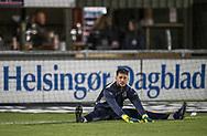 FODBOLD: Målmand Aris Vaporakis (FC Helsingør) varmer op før kampen i ALKA Superligaen mellem FC Helsingør og Hobro IK den 17. november 2017 på Helsingør Stadion. Foto: Claus Birch