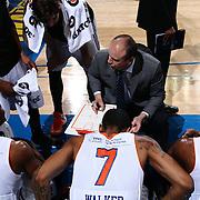Westchester Knicks Head Coach MIKE MILLER draws up a play during a time out in the second half of a NBA D-league regular season finale between the Delaware 87ers and the Westchester Knicks Friday, Apr. 01, 2016, at The Bob Carpenter Sports Convocation Center in Newark, DEL.<br /> <br /> The Westchester Knicks will open up post season play verses the sioux skyforce Tuesday, Apr 5, 2016, at The Westchester County Center in White Plains, NY.