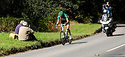 UK, September 15 2011: Team Europcar's Damien Gaudin leads the race across Woodbury Common towards the finish in Exmouth during stage 5 of the 2011 Tour of Britain. The stage started in Exeter and finished in Exmouth. Copyright 2011 Peter Horrell