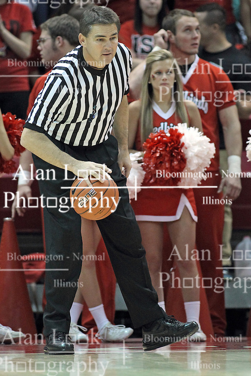 20 November 2013:  Referee Paul Janssen during an NCAA Non-Conference mens basketball game between theJaspers of Manhattan and the Illinois State Redbirds in Redbird Arena, Normal IL