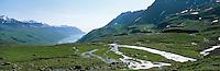 Looking down towards fiord Mjóifjörður in East Iceland. Small river or stream running towards the fiord. Sheep near river, sunny weather. Horfti niður að Mjóafirði, sauðfé við á, grænn gróður.<br />