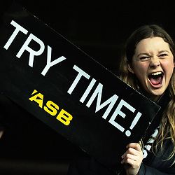 A fan celebrates during the Rugby Championship and Bledisloe Cup rugby match between the New Zealand All Blacks and Australia Wallabies at Forsyth Barr Stadium in Dunedin, New Zealand on Saturday, 26 August 2017. Photo: Dave Lintott / lintottphoto.co.nz