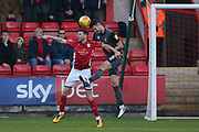 5 Jason Shackell for Lincoln City wins a header from 7 Chris Porter for Crewe Alexander during the EFL Sky Bet League 2 match between Crewe Alexandra and Lincoln City at Alexandra Stadium, Crewe, England on 26 December 2018.