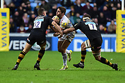 Wasps fly-half Jimmy Gopperth  and Wasps flanker Thomas Young  make a tackle during the Aviva Premiership match between Wasps and Exeter Chiefs at the Ricoh Arena, Coventry, England on 18 February 2018. Picture by Dennis Goodwin.