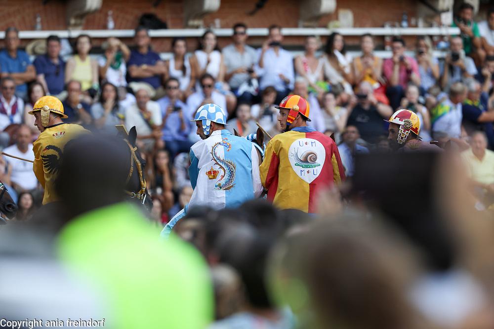 The Palio Di Siena, horse race festival at Piazza Del Campo in Siena, Tuscany, Italy. Winner, Onda, Horse Porto Alabe, Jockey Carlo Sanna.