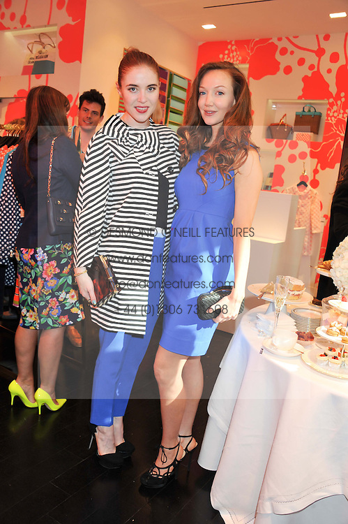 Left to right, ANGELA SCANLON and OLIVIA GRANT at the Kate Spade NY hosted Chelsea Flower Show Tea Party held at Kate Spade, 2 Symons Street, London on 23rd May 2013.