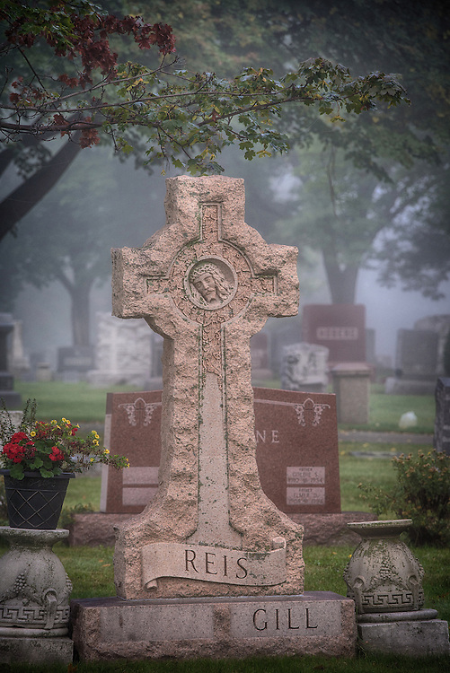 Foggy morning at Allouez Catholic Cemetery in Green Bay, Wis. (Sam Lucero photo)
