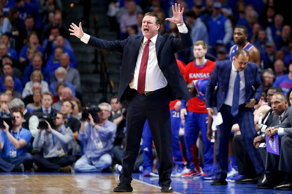Kansas Jayhawks head coach Bill Self directs his team against the Kentucky Wildcats on Saturday January 28, 2017 at Rupp Arena in Lexington, Ky. Photo by Michael Reaves | Staff