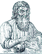 Hippocrates of Cos,' The Prince of Physcians'  according to the French surgeon, Ambroise Pare.  Hippocrates  (born c460 BC) Ancient Greek physician, the father of modern medicine. Woodcut from Pare's 'Surgery', 16th century.