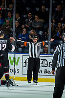KELOWNA, CANADA - FEBRUARY 7: Referee Marc Pearce calls no goal against Brodan Salmond #31 of the Kelowna Rockets by the Vancouver Giants  on February 7, 2018 at Prospera Place in Kelowna, British Columbia, Canada.  (Photo by Marissa Baecker/Shoot the Breeze)  *** Local Caption ***