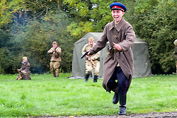 Soviet troops charge German Positions during a Battle re-enactment on Pickering Showground<br /> <br /> 17/18 October 2015<br />  Image © Paul David Drabble <br />  www.pauldaviddrabble.co.uk