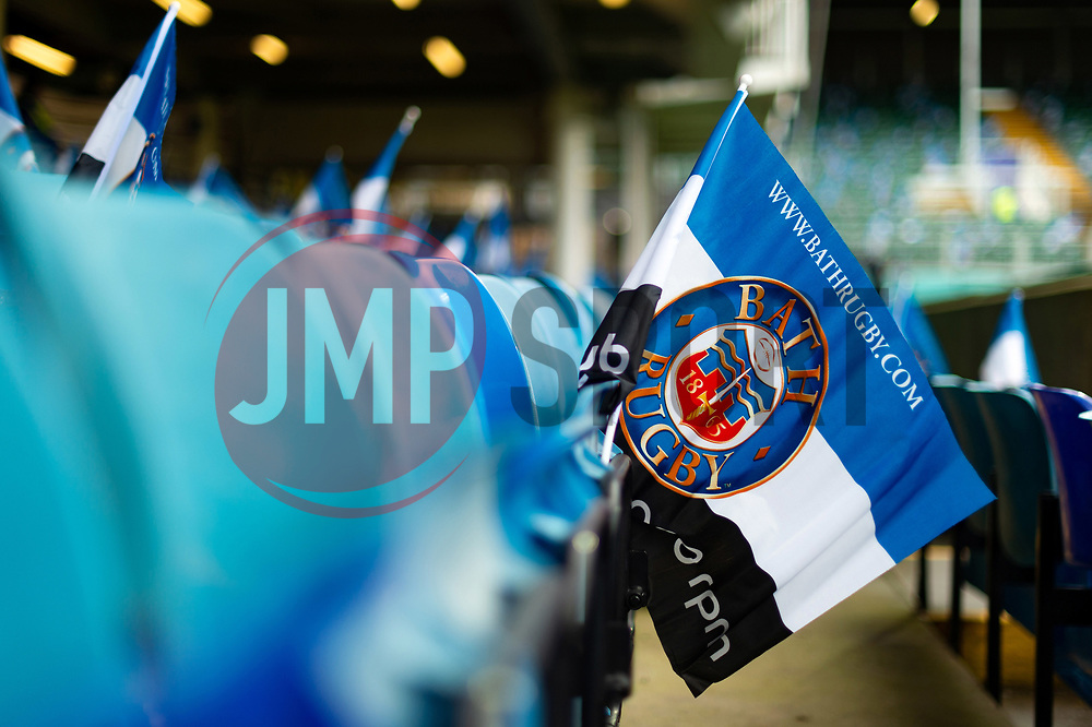 A general view of Bath Rugby flags in the south stand - Mandatory byline: Patrick Khachfe/JMP - 07966 386802 - 13/10/2018 - RUGBY UNION - The Recreation Ground - Bath, England - Bath Rugby v Toulouse - Heineken Champions Cup