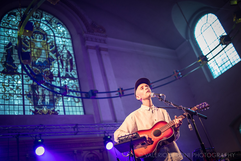 Jens Lekman, Swedish songwriter, playing live at St. John Church for Visions Festival 2015 in Hackney, London