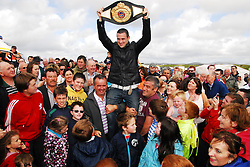 Henry Coyle Light Middle Weight World Champion delighted the crowds gathered at Doolough Races, Geesala on sunday...Pic Conor McKeown