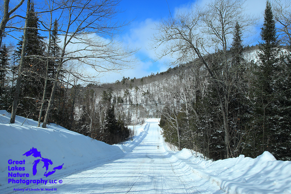 Mount Bohemia stands in the background of this snowy winter Keweenaw setting.