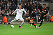 Bayer Leverkusen striker Javier Hernandez (7) tackling Tottenham Hostpur defender Kyle Walker (2) during the Champions League match between Tottenham Hotspur and Bayer Leverkusen at Wembley Stadium, London, England on 2 November 2016. Photo by Matthew Redman.