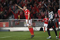 February 17, 2018 - Lisbon, Portugal - Benfica's defender Ruben Dias celebrates his goal  during Primeira Liga 2017/18 match between SL Benfica vs Boavista FC, in Lisbon, on February 17, 2018. (Credit Image: © Carlos Palma/NurPhoto via ZUMA Press)